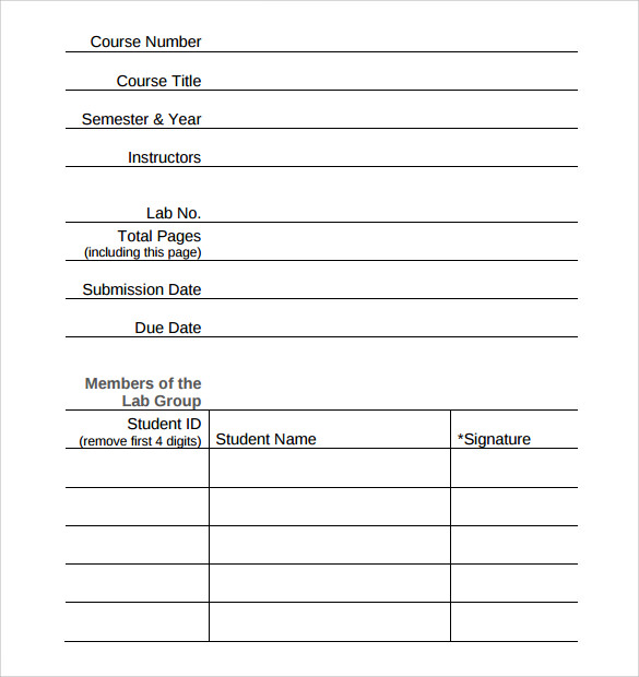 Sample Report Cover Page   Documents In Word Pdf