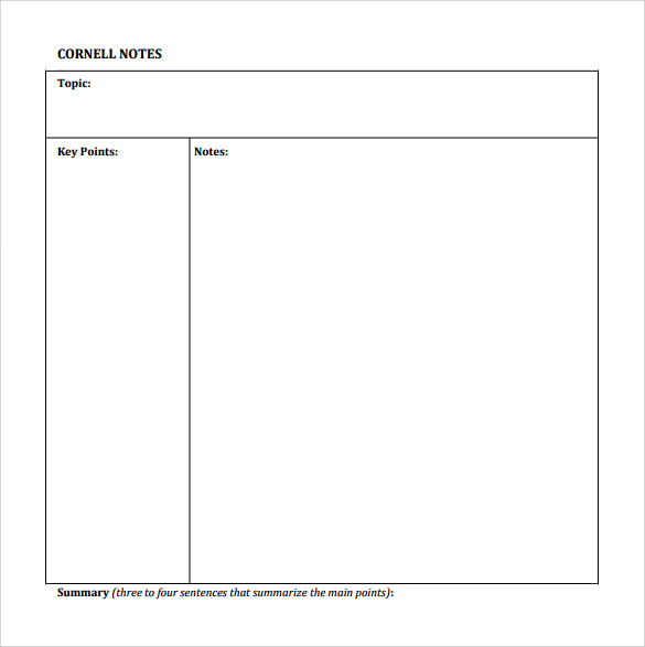 Sample Cornell Notes Paper Template   Free Documents In Pdf Word