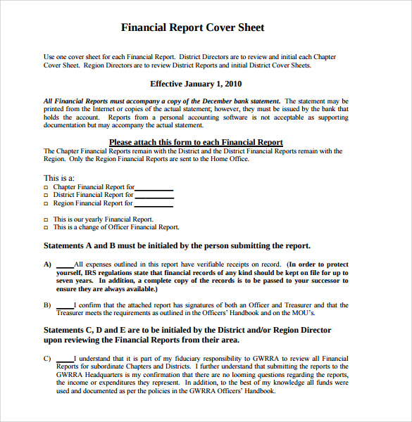 report cover sheet examples