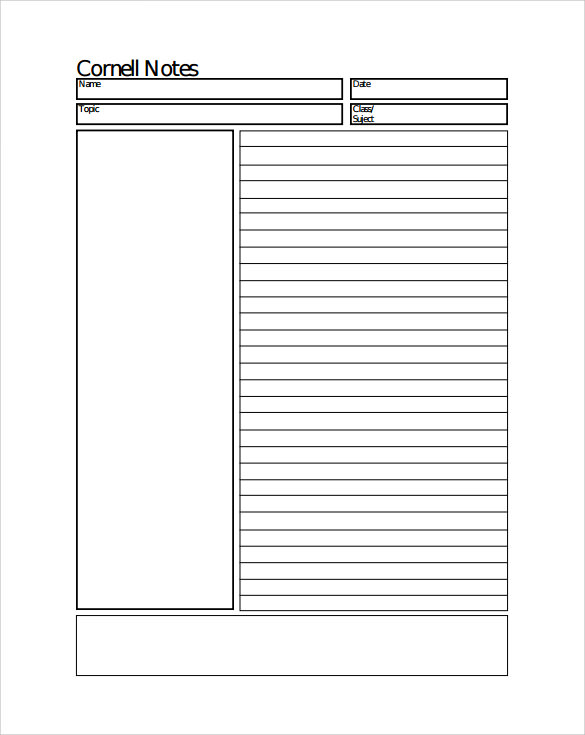 High Quality Cornell Note Paper Example On Note Paper Template For Word