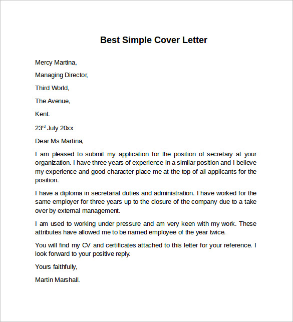 8 sample cover letter templates to download sample templates best simple cover letter template thecheapjerseys Image collections
