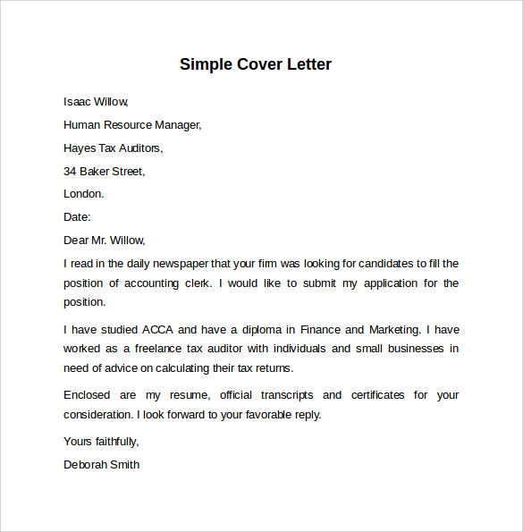 Simple Cover Letter Template Example  Simple Cover Letters