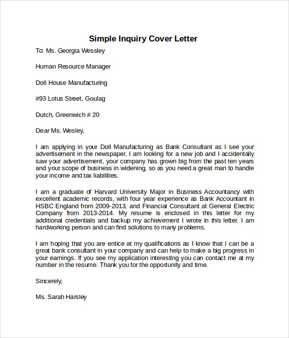 simple inquiry cover letter template