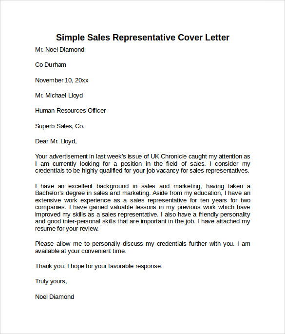 simple sales representative cover letter template
