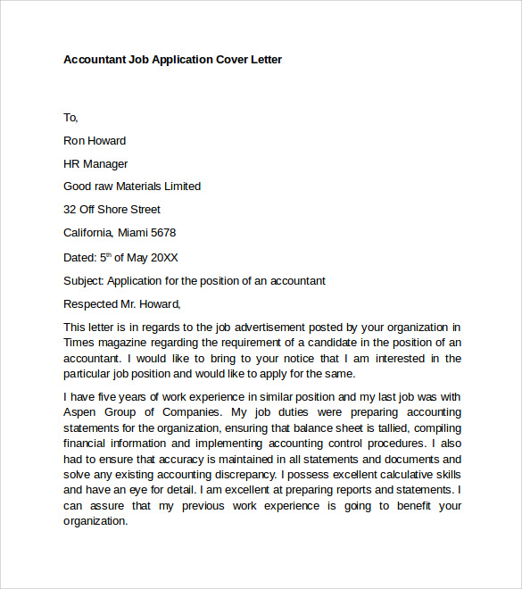 Job Application Letter Sample Accountant