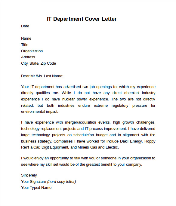 it department cover letter template - Cover Letter Outline