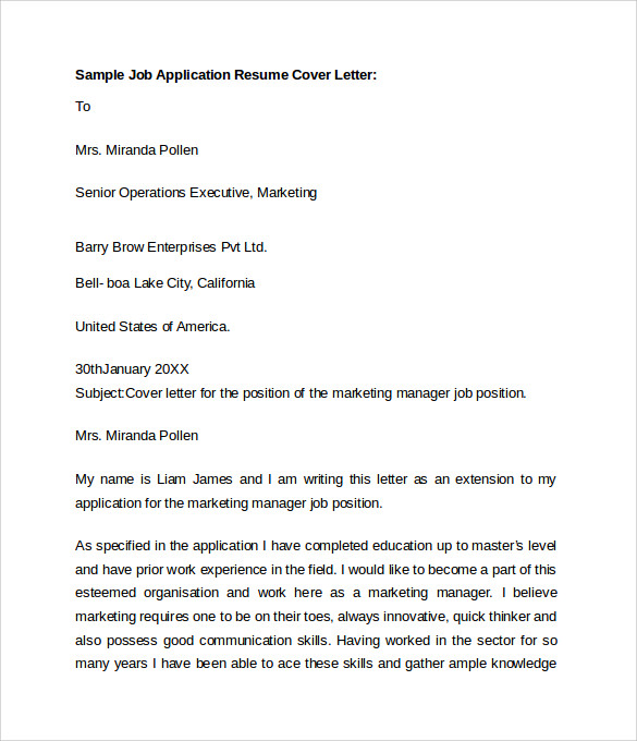 resume letter examples application - Covering Letter For Job Application Samples