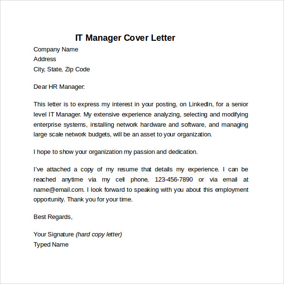 IT Manager Cover Letter Template