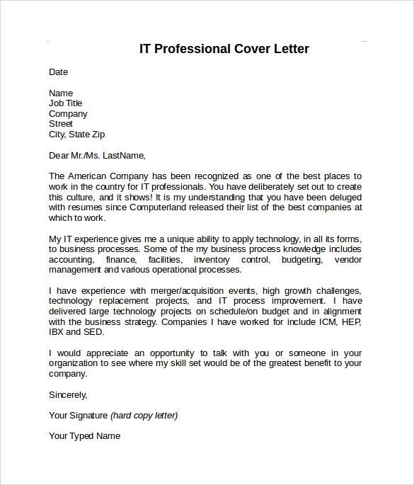8 information technology cover letter templates to for Sample cover letter for an it professional