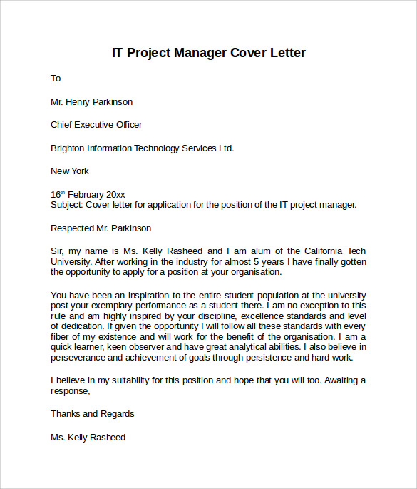 it project manager cover letter for resume It manager cover letter example for technical professional submitting resume for jo in technology management, internet marketing and social networking.