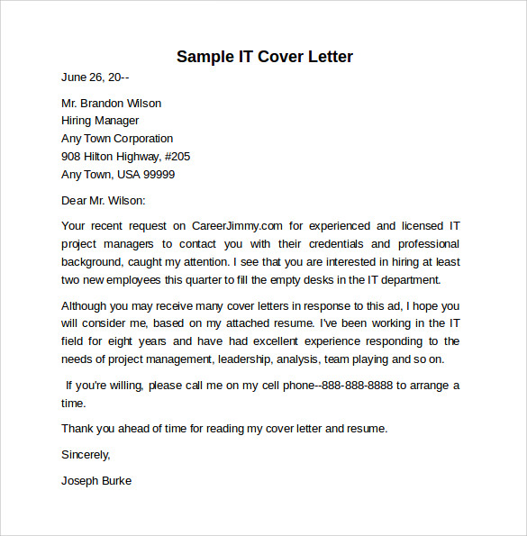 Sample Information Technology Cover Letter Template 8