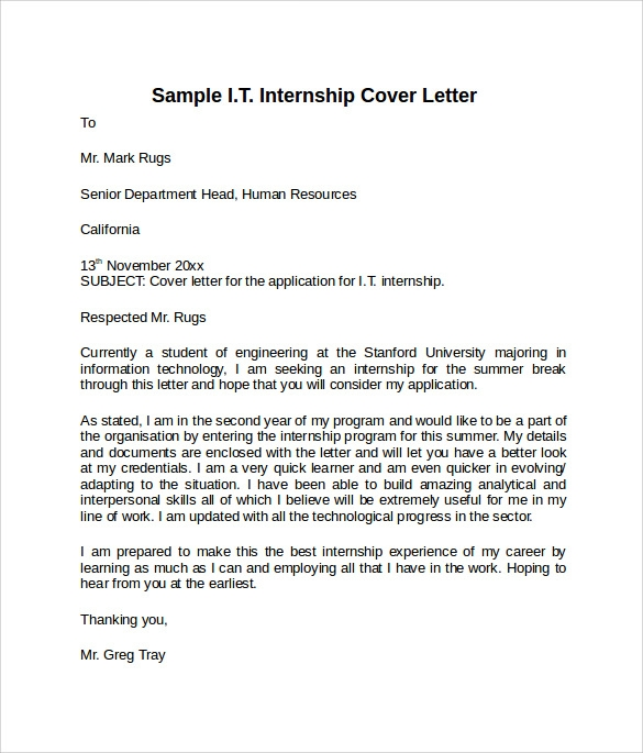 8 information technology cover letter templates to for Format of a cover letter for an internship