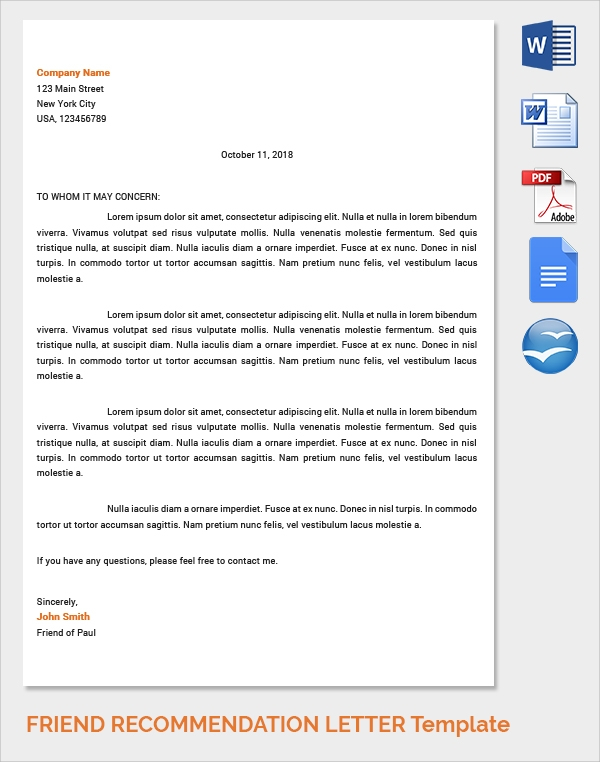 Sample Of Letter Of Recommendation For A Friend from images.sampletemplates.com