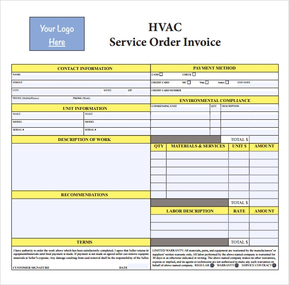 HVAC Invoice Templates To Download For Free Sample Templates - Hvac service order invoice template