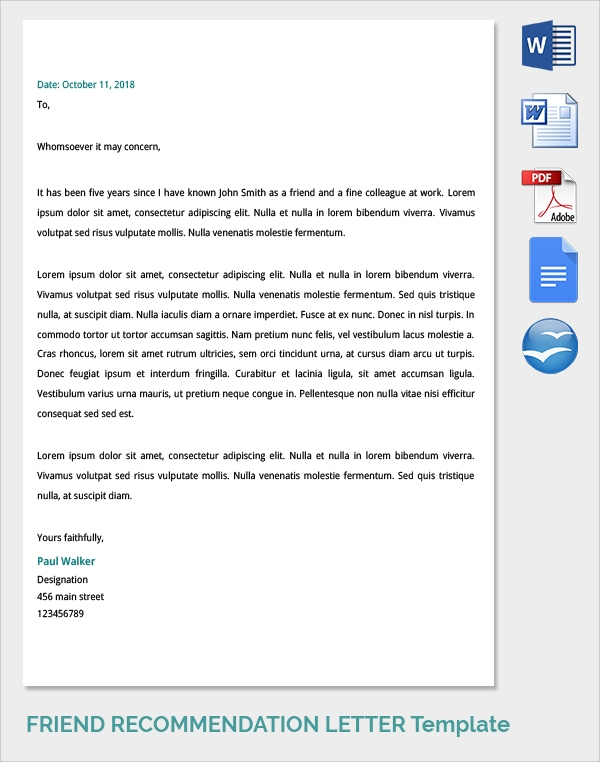 simple friend recommendation letter template