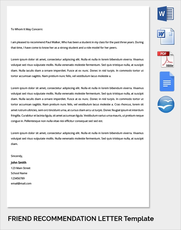 friend recommendation letter template to school
