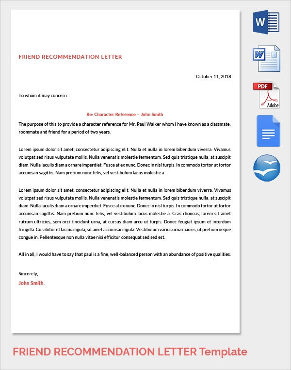 friend recommendation letter for job