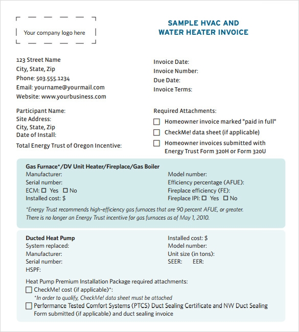 Hvac Invoice Template Pdf  PrivatesoftwareInfo