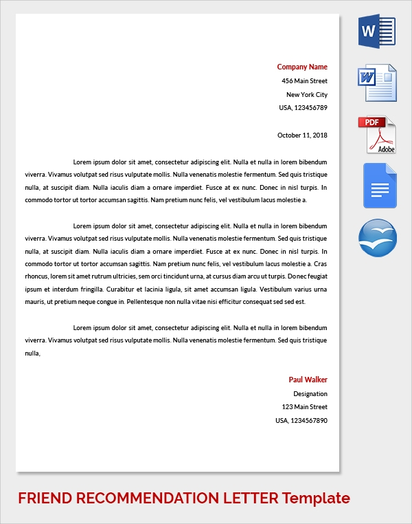 friend recommendation letter to company