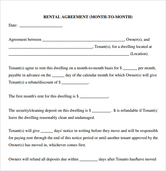 Month Month Rental Agreement Template  Lease Rent Agreement Format