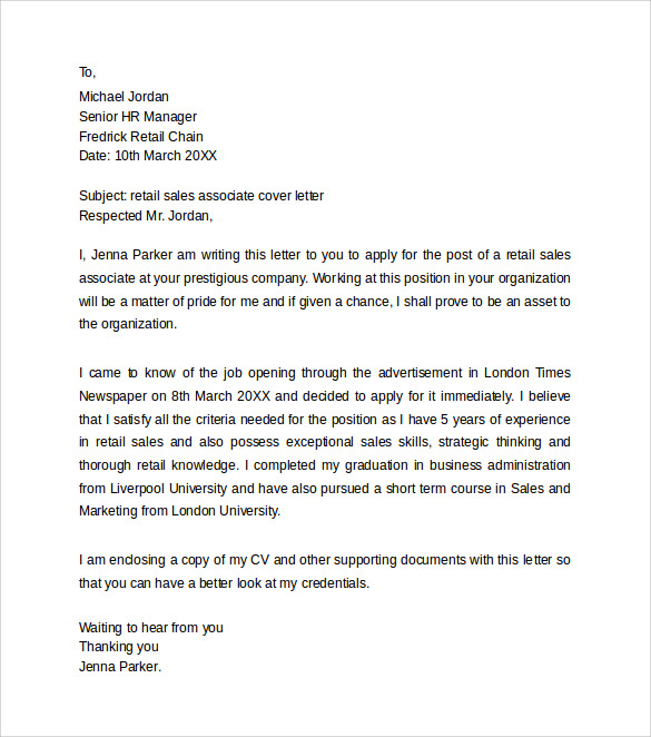 Sample Retail Cover Letter Templates   Download Free Documents In