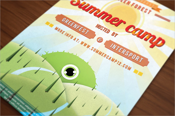 retro summer camp flyer