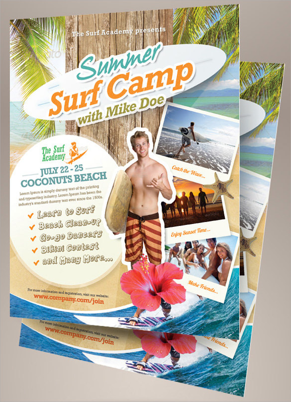 summer surf camp flyers