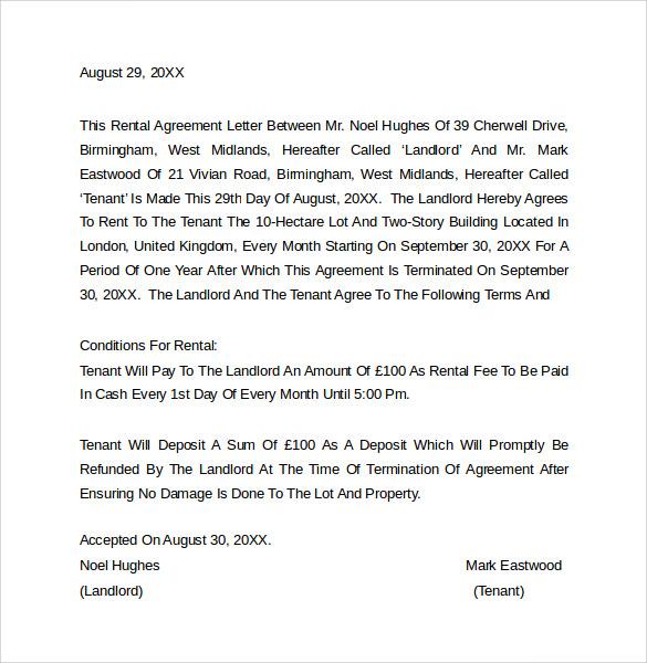 Sample Rental Agreement Letter Template 8 Download Free