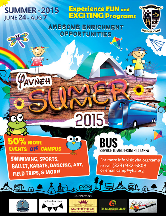 yavneh summer camp flyer design