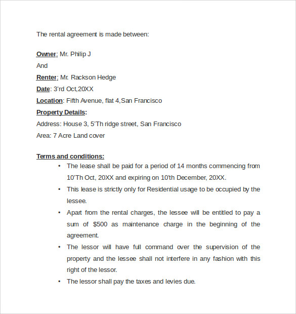 Sample Rental Agreement Letter Template 7 Free Documents in – Basic Rental Agreement Letter Template