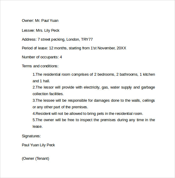 Basic Residential Room Rental Agreement Letter