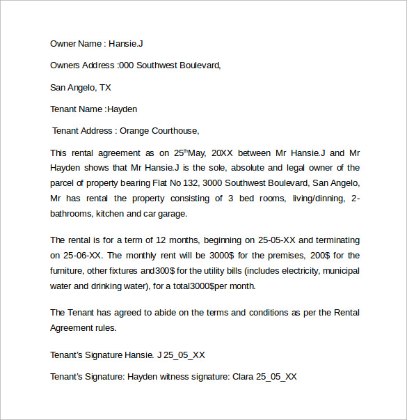 Sample Rental Agreement Letter Template 12 Free Documents In Word