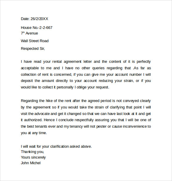 Basic Room Rental Letter Agreement Sample Template