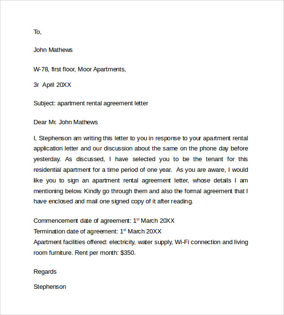 Sample Rental Agreement Letter Template 8 Free Documents in – Simple Rental Agreement Example