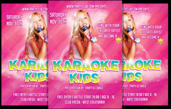 karaoke kids talent flyer