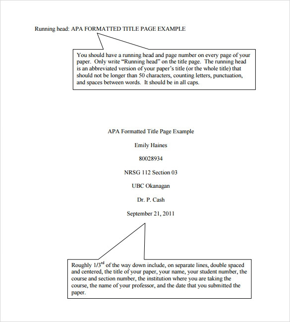 Sample Apa Format Title Page Template   Free Documents In Pdf Word