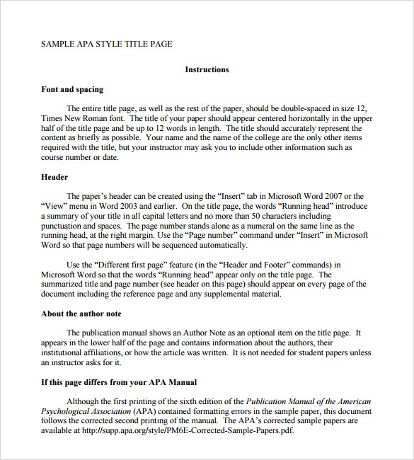 7 apa format title page templates sample templates for Apa research paper template word 2010