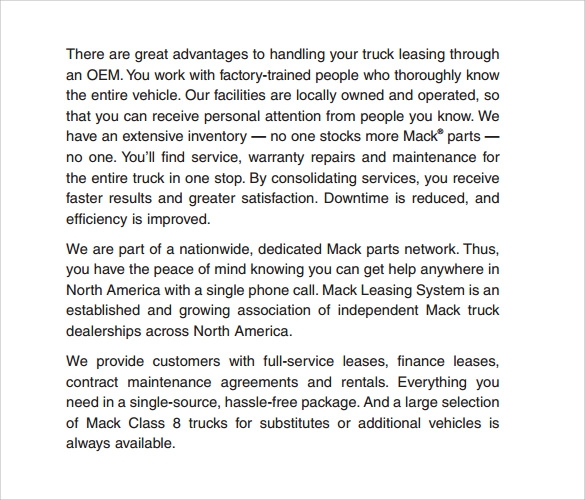 sample truck leasing