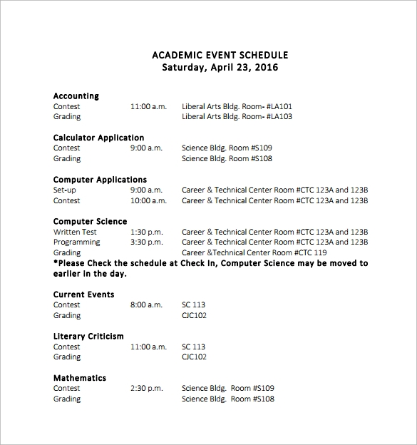 academic event schedule template
