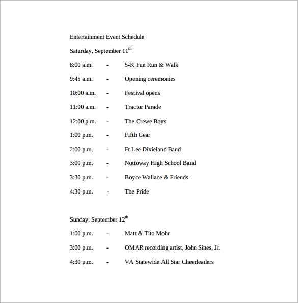 Sample Event Schedule Template 13 Free Documents in Word PDF – Sample Event Schedule Template