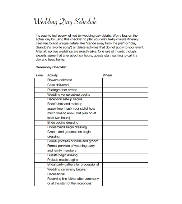 wedding event schedule