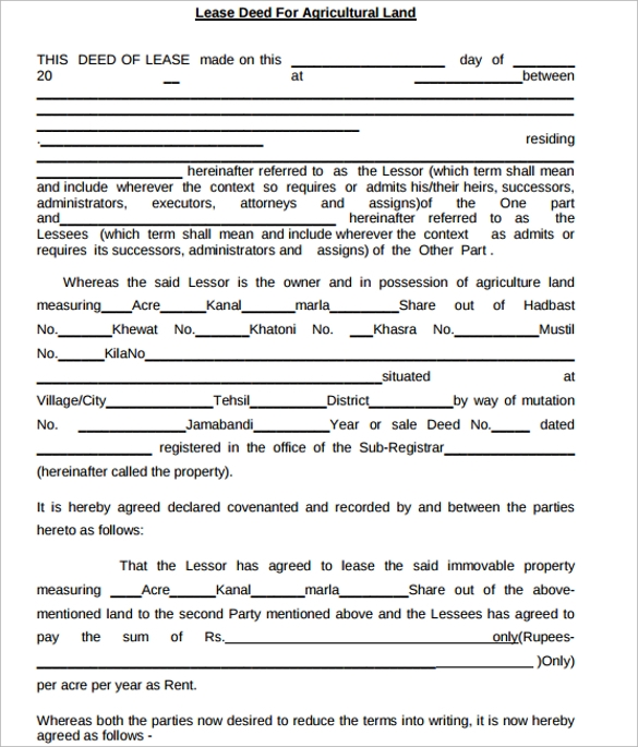 Sample Lease Agreement For Agricultural Land  Format Of Lease Agreement