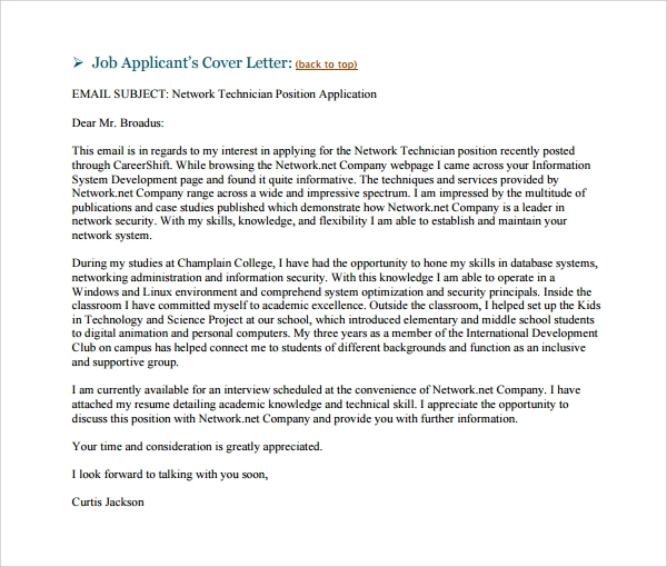 employment cover letter template word