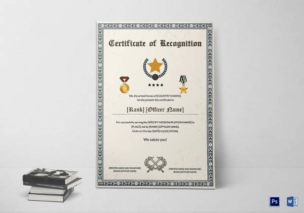 army thank you certificate of service template