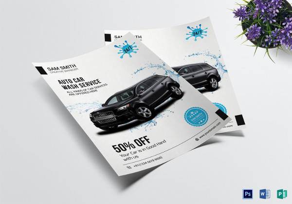 auto car wash flyer template