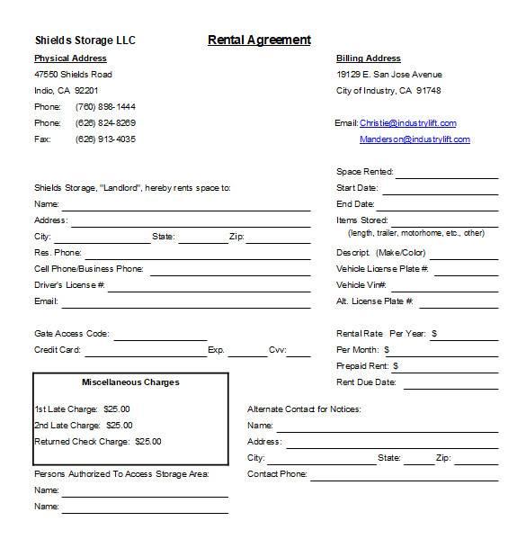 basic rental agreement in excel