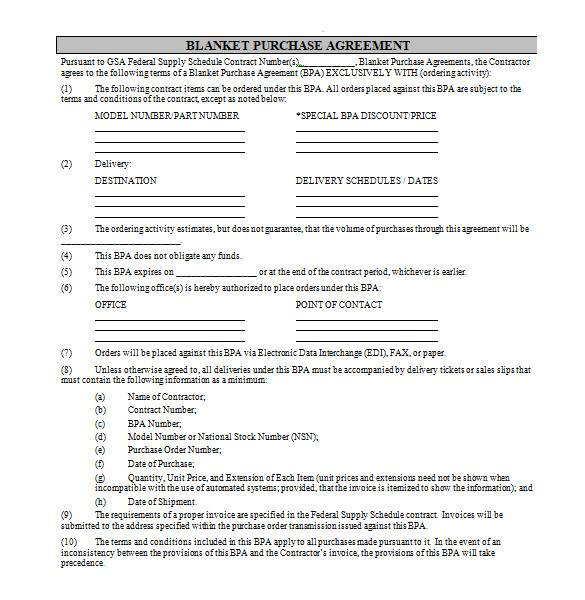 blanket purchase agreement in ms word