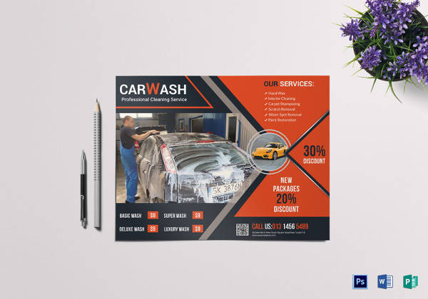 car wash discount flyer template