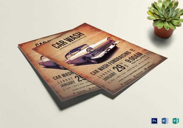 car wash fundraising flyer template in word