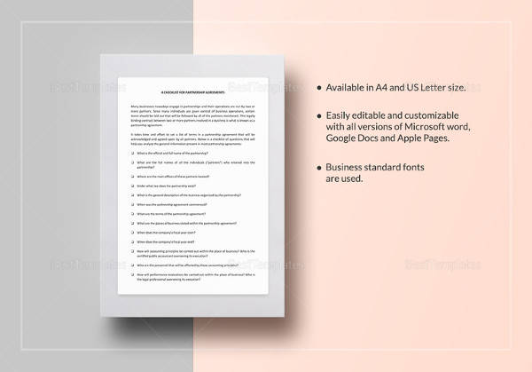 checklist partnership agreement word template